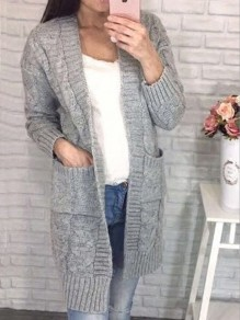 Light Grey Pockets Long Sleeve Oversize Casual Cardigan Sweater