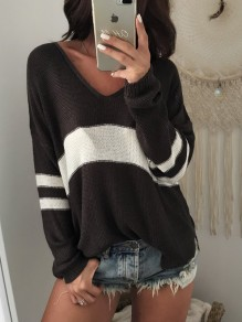 Black Striped Irregular Side Slit Plunging Neckline Long Sleeve Casual Sweater