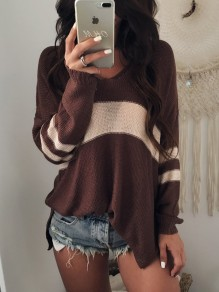 Brown Striped Irregular Side Slit Plunging Neckline Long Sleeve Casual Sweater