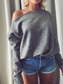 Grey Asymmetric Shoulder Long Sleeve Fashion Pullover Sweater