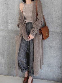 Camel Pockets V-neck Casual Long Cardigan Sweater