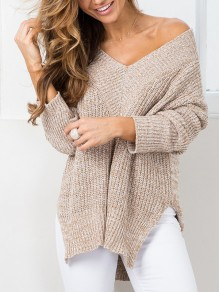 Khaki Irregular V-neck Long Sleeve Casual Sweater