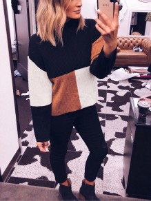 Black Color Block Print Band Collar Long Sleeve Fashion Pullover Sweater