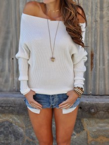 White One Off Shoulder Long Sleeve Slouchy Casual Pullover Sweater