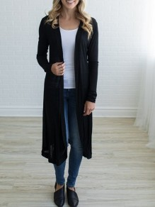 Black Ruffle Long Sleeve Casual Cardigan Sweater