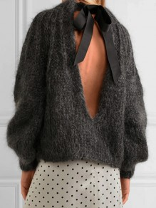 Grey Cut Out Bow Backless Round Neck Fashion Pullover Sweater