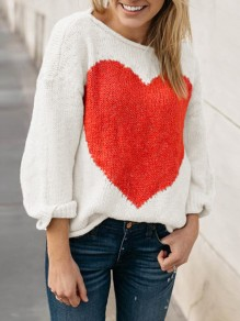 White Heart Print Long Sleeve Round Neck Knitwear Casual Pullover Sweater