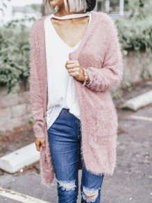 Pink Pockets Round Neck Long Sleeve Fashion Cardigan Sweater