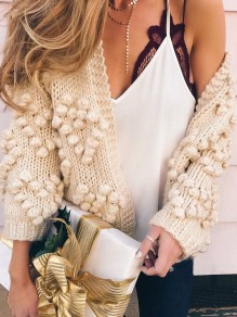 Light Apricot Pompons No Buttons Knit Cute Casual Cardigan Sweater