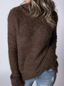 Brown Patchwork High Neck Casual Pullover Sweater