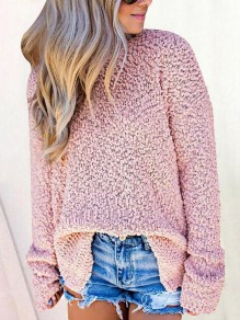 Pink Slit High Neck Long Sleeve Cute Pullover Sweater