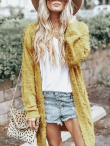 Yellow Collarless Long Sleeve Fashion Cardigan Sweater