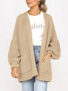 Khaki Pockets No Buttons Balloon Sleeve Casual Cardigan Sweater
