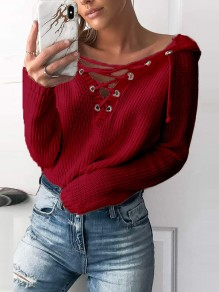 Wine Red Print Cut Out Long Sleeve Going out Pullover Sweater