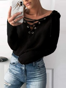 Black Print Cut Out Long Sleeve Going out Pullover Sweater