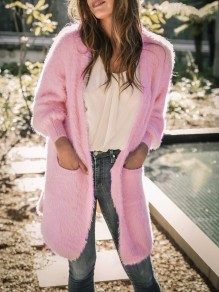 Pink Pockets Long Sleeve Casual Fuzzy Teddy Sweater Cardigan
