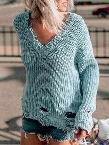 Blue Cut Out V-neck Casual Pullover Sweater