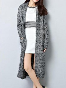 Light Grey Pockets Long Sleeve Hooded Cardigan Sweater