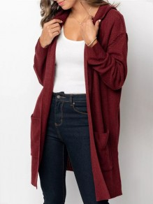 Date Red Pockets Slit Hooded Long Sleeve Oversize Cardigan Sweater