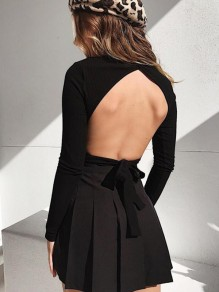 Black Irregular Backless Cut Out Bow Band Collar Long Sleeve Sweet Sweater