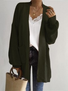 Green Pockets Long Sleeve Casual Cardigan Sweater