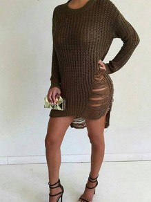 Army Green Cut Out Irregular Tassel Round Neck Long Sleeve Casual Sweater