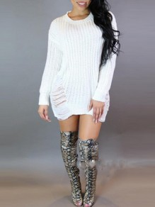 White Cut Out Irregular Tassel Round Neck Long Sleeve Casual Sweater