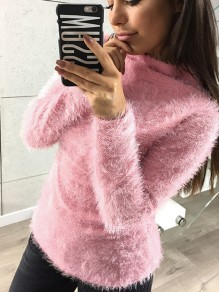 Pink Long Sleeve Round Neck Sweet Going out Party Pullover Sweater