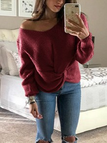 Wine Red One Shoulder Irregular V-neck Long Sleeve Casual Pullover Sweater