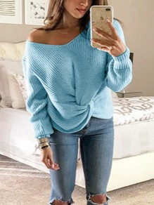 Blue One Shoulder Irregular V-neck Long Sleeve Casual Pullover Sweater