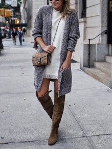 Grey Cut Out Pockets Long Sleeve Casual Cardigan