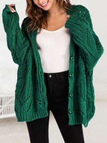 Green Single Breasted V-neck Dolman Sleeve Oversize Cardigan Sweater