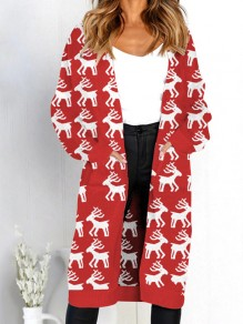 Red Deer Print Pockets V-neck Long Sleeve Casual Cardigan Sweater