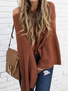 Coffee Plain Bell Sleeve Round Neck Going out Pullover Sweater