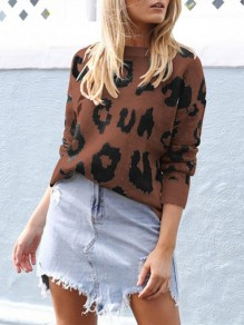Coffee Leopard One Shoulder Long Sleeve Casual Pullover Sweater