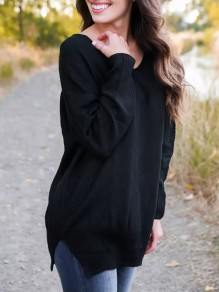 Black Slit V-neck Long Sleeve Casual Oversize Pullover Sweater