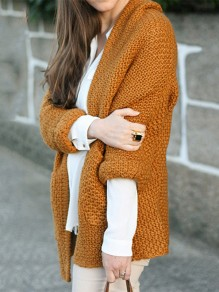 Brown Pockets V-neck Long Sleeve Going out Casual Cardigan Sweater