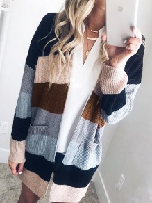 Black Striped Print Pockets V-neck Long Sleeve Oversized Casual Cardigan
