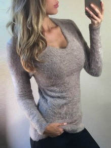 Grey Round Neck Long Sleeve Fashion Going out Pullover Sweater