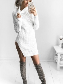 White Irregular Polo Neck Long Sleeve Casual Cardigan Sweater