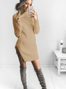 Khaki Irregular Polo Neck Long Sleeve Casual Cardigan Sweater
