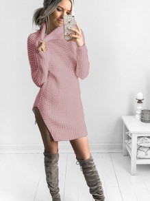 Pink Irregular Polo Neck Long Sleeve Casual Cardigan Sweater
