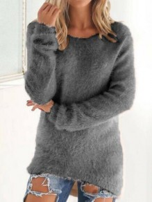 Grey Round Neck Long Sleeve Going out Pullover Sweater
