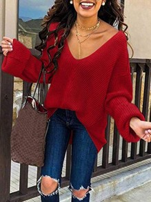 Red V-neck Long Sleeve Going out Casual Pullover Sweater