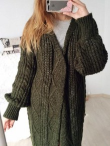Dark Green Long Sleeve Oversized Casual Cardigan Sweater