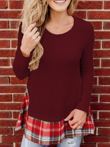 Burgundy Plaid Pleated Long Sleeve Round Neck Casual Sweaters Pullover
