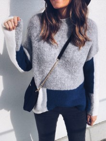 Grey Patchwork Round Neck Long Sleeve Fashion Pullover Sweater