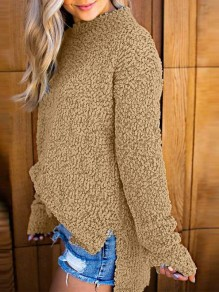 Khaki Side Slit Long Sleeve Casual Sweet Going out Pullover Sweater