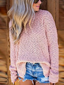 Pink Side Slit Long Sleeve Casual Sweet Going out Pullover Sweater