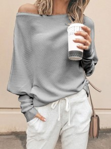 Grau One Shoulder Fledermausärmel Oversize Lässige Damen Strickpullover Mode Sweater Pullover